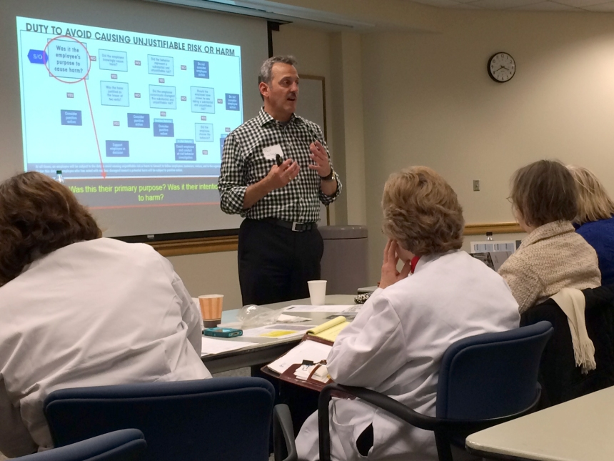 A consultant from SG Collaborative Solutions leads a Just Culture training session at BWH.