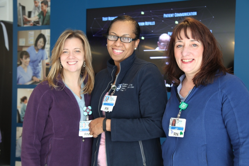 From left: Float Pool nurses Roberta Viens, Nadia Raymond and Joanne Ring in the Partners eCare Information Center