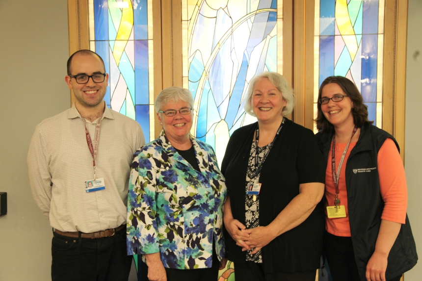 Members of the Spiritual Care Services team . From left to right, David Colarossi, Kathleen Gallivan, SNDdeN, PhD, Rev. Vera O'Brien, and Laurie Bittmann, MA.