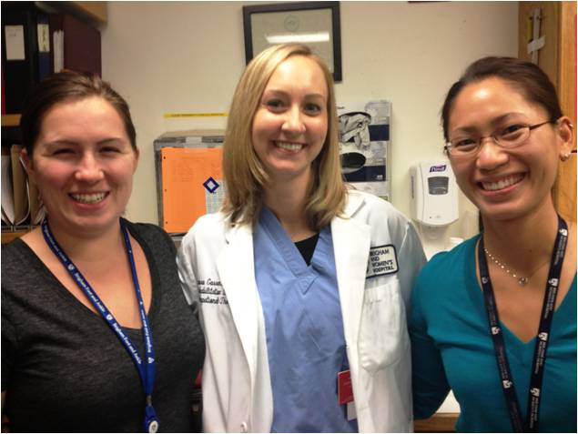 Jessica Meiley, senior orthopedic technician, Laura Engelman, OTR/L, occupational therapist, and Jillian Ng, PT, physical therapist