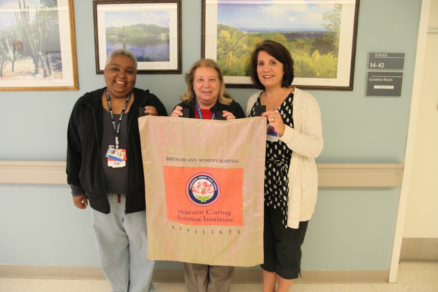 From left to right: Caritas coaches Marjorie Depestre, BSN, RN, Patricia Brita Rossi, MS, RN, and Suzanne Fernandes, BSN, RN