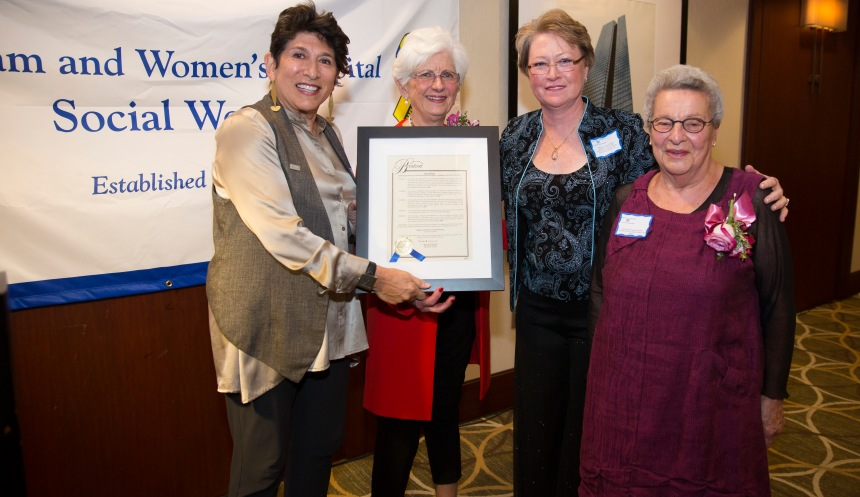 From left to right: Carol Trust, of the National Association of Social Workers Massachusetts Chapter, Anne Groves, former BWH and Boston Hospital for Women Social Work director,  Martha Burke, MSW, LICSW, Director of Social Work and Clinical Services at BWH, and Florence Slepian, former BWH Social Work director and assistant vice president of Clinical Services, at the Department of Social Work's 100th anniversary celebration at BWH on Sept. 18, 2015.
