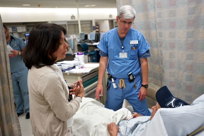 Euridice Rivas-Ringquist, medical interpreter, and Steven Palmer, RN, nurse-in-charge