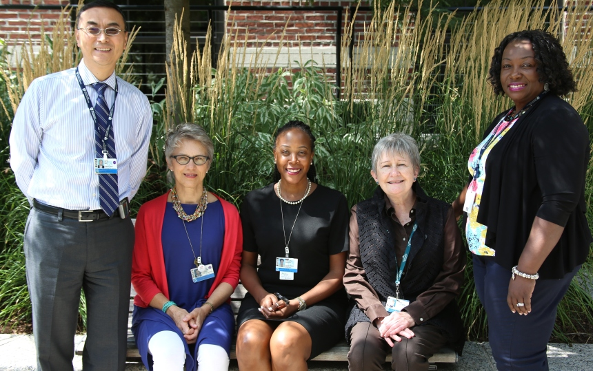 The Diversity & Inclusiveness Committee (D&I), from left: Yilu Ma; Martha Jurchak, PhD, RN; Shelita Bailey; Lianne Crossette; and Joyce Johnson, PhD, RN.