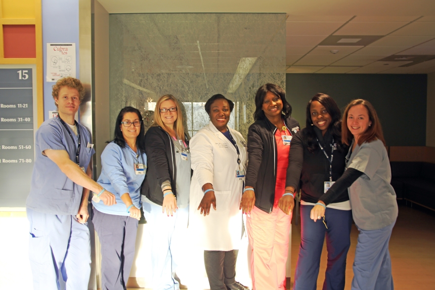 Members of the 15CD clinical practice council, from left: Matthew Janik, BSN, RN; Suzette Moniz, BSN, RN; Kaylie Stewart, BSN, RN; Joyce I. Johnson, MS, RN (nurse director); Caprie Bell, MSN, RN; Leonora Johnson, BSN, RN; and Elizabeth Cohn, MSN, RN