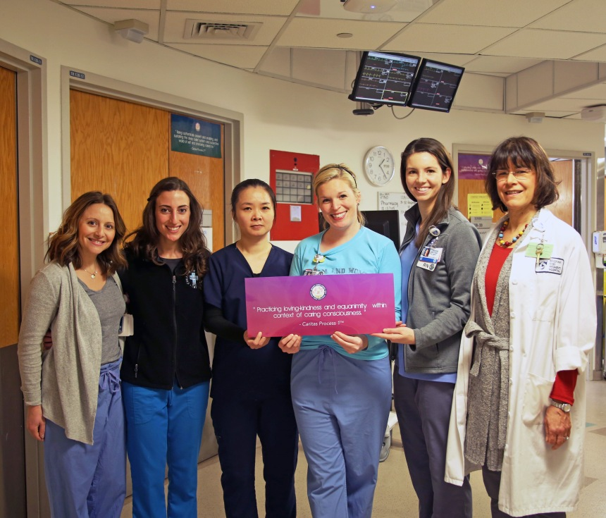 Staff from BWH's Neuroscience Intermediate Care Unit, from left: Jaimie Medina, RN; Lisa D'Amore, RN; Dien Duong, PCA; Christine Tower, RN; Katie Belategui, BSN, RN; and Mary Pennington, MS, RN, nurse director.