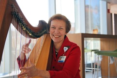 Nancy Kleiman comforts all who enter BWH by playing soothing and peaceful melodies on the harp.