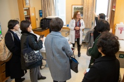 Nora Scharf, MSN, RN, assistant nursing director of the Center for Labor and Birth and Antenatal, leads a tour of the Center for Labor and Birth.