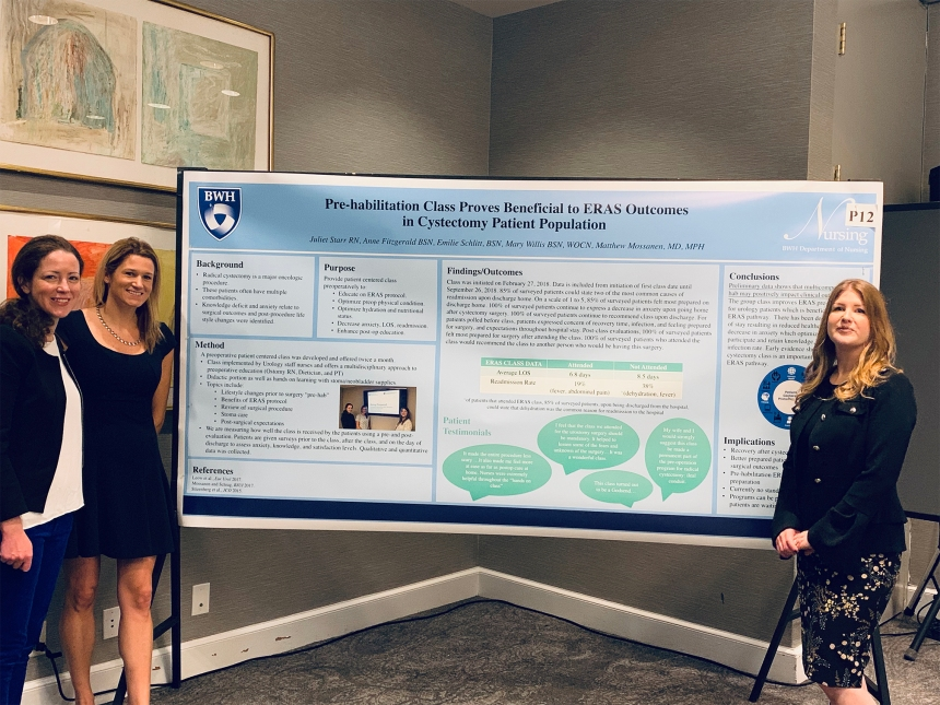 From left, Anne Fitzgerald, Emilie Schlitt and Juliet Starr present a poster on the pre-op course at the ERAS Conference in New Orleans.